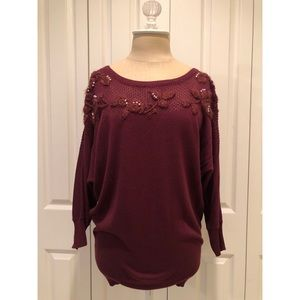 Lauren Conrad Maroon Pearl Embroidered Sweater